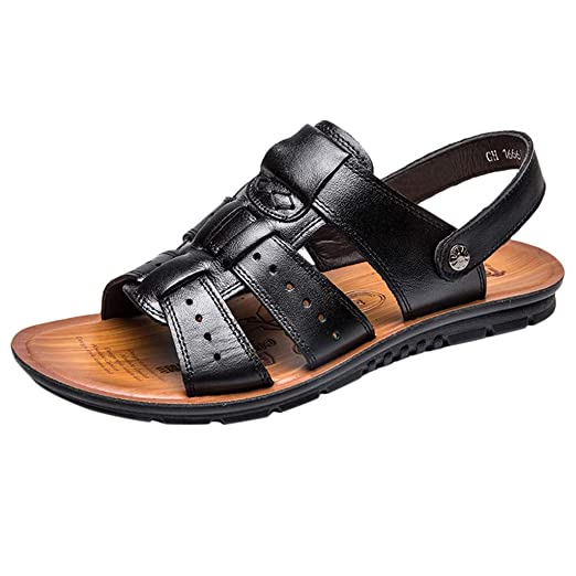18ff538cb Dainzuy Sandals for Men Leather Summer Fashion Breathable Beach Shoes  Athletic and Outdoor Casual Slippers Black