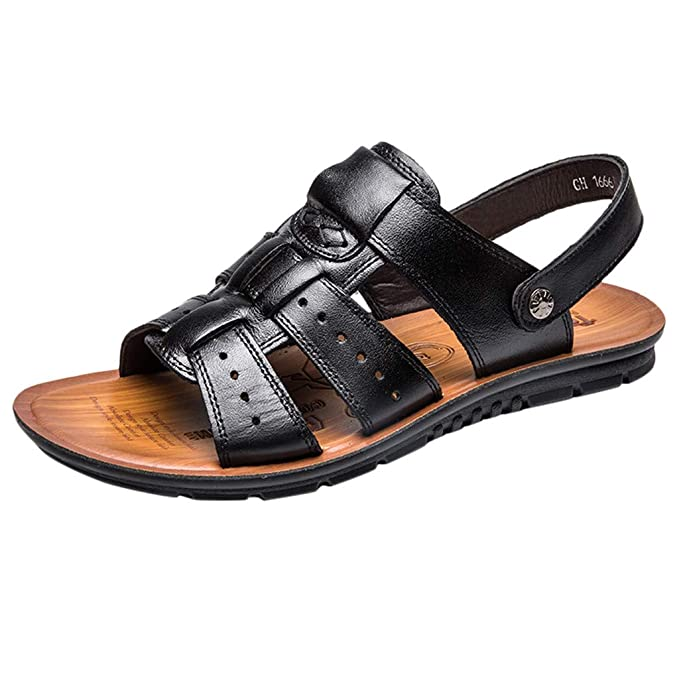 4282d0f8f26e Corriee Mens Leather Sandals Summer Outdoor Sports Anti-Slip Breathable  Shoes Fisherman Beach Sandal Slippers
