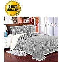 Elegant Comfort Luxury Micro-Sherpa Ultra Plush Warm Heavy-Weight Wave Pattern Blanket, Full/Queen, Grey