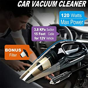 xinyuanjiafang 12V 3800Pa Suction Strong Power Car Vacuum Cleaner with Sucker/Brush/Long Suction Nozzle Mini Car Vacuum Sweeper Dust Collector