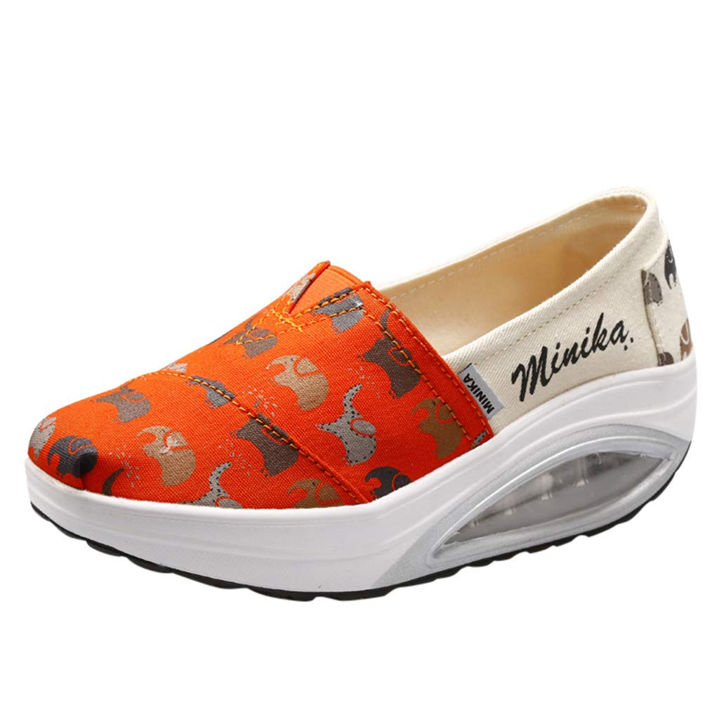 Women Platform Wedge Canvas Shoes Thick Bottom Slip On Loafers Casual Fashion Comfy Walking Sneakers Travel Shoes (Orange, US:7.5=Foot Length :24cm/9.5'')
