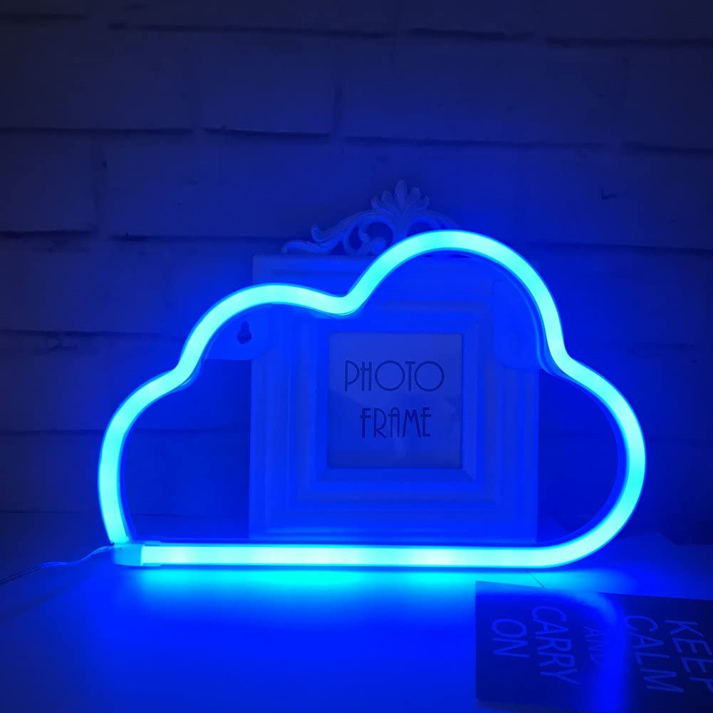 Cute Blue Neon Light Led Cloud Sign Shaped Decor Light Marquee Signs Wall Decor For Christmas Birthday Party Kids Room Living Room Wedding Party Decor Blue Amazon Com