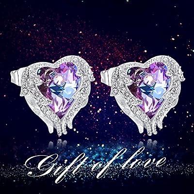 CDE Angel Wing Swarovski Crystals Stud Earrings for Women Heart Studs Silver Jewelry Gift