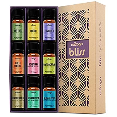 Natrogix Bliss - Top 9 Therapeutic Grade 100% Pure Essential Oil Set (Eucalyptus, Frankincense, Lavender, Lemongrass, Lemon, Moroccan Rosemary, Sweet Orange, Tea Tree, Peppermint)