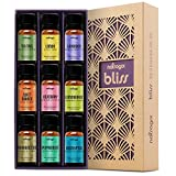 Natrogix Bliss Essential Oils - Top 9 Therapeutic Grade 100% Pure Essential Oil Set (Tea Tree, Lavender, Eucalyptus, Frankincense, Lemongrass, Lemon, Rosemary, Orange, Peppermint) w/ Free E-Book