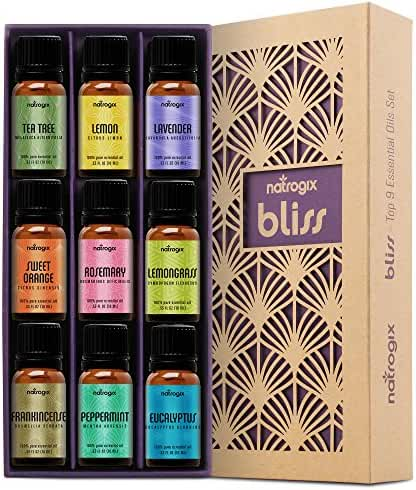 Natrogix Bliss - Top 9 Therapeutic Grade 100% Pure Essential Oil Set (Tea Tree, Lavender, Eucalyptus, Frankincense, Lemongrass, Lemon, Moroccan Rosemary, Sweet Orange, Peppermint) w/ Free E-Book