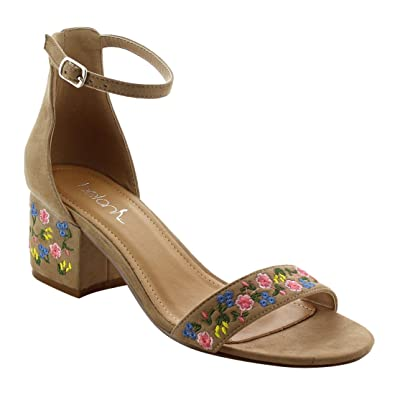 0f1e0d6f1ef Betani FK45 Women s Embroidered Buckled Ankle Strap Block Heel Sandals