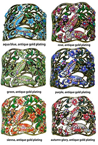 Set of 6 Crystal Butterfly Hair Holder Barrettes, 1 Ea of 6 Colors, YY86900-4-6argpgsa by Bella