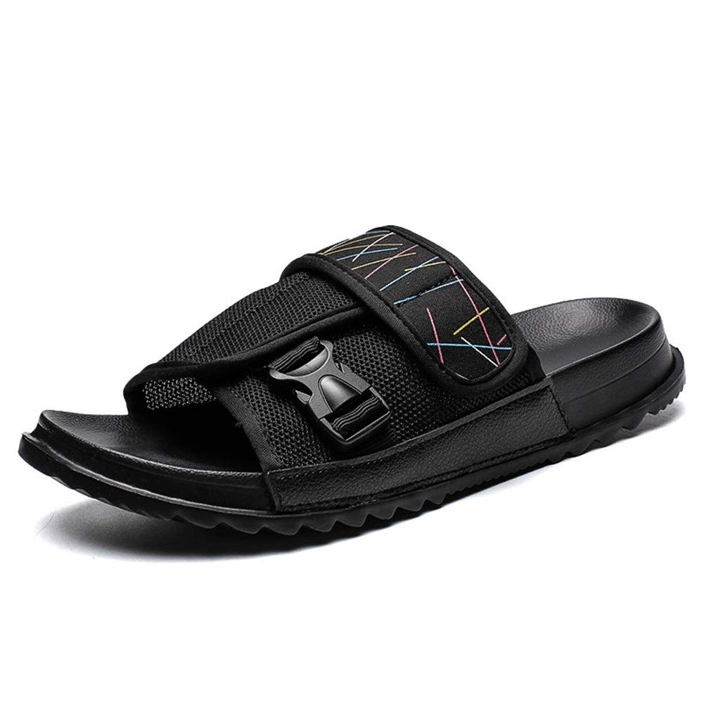 Mamrar Men's Summer Slippers Non-Slip Breathable Mesh Upper Outdoor Leisure Round Open Toe Buckle Hook Ring Non-Slip Flat European Size 39-45 (Color : Black, Size : 9 M US)