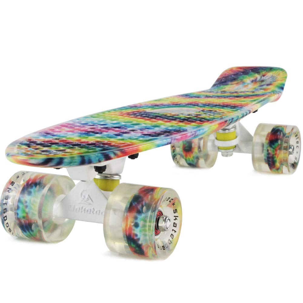 Skateboards Boys Mini Cruiser Skateboard 22 inch Kids Board for Girl Youth Children Toddler Teenagers Adult Dog for Beginner Boys 7 to 10 (Rainbow) by Meketec