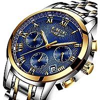 Watches,Mens-Watch Waterproof Stainless Steel Analog Quartz Watch Gents Fashion Business Chronograph Wrist Watch Blue Dial Clock