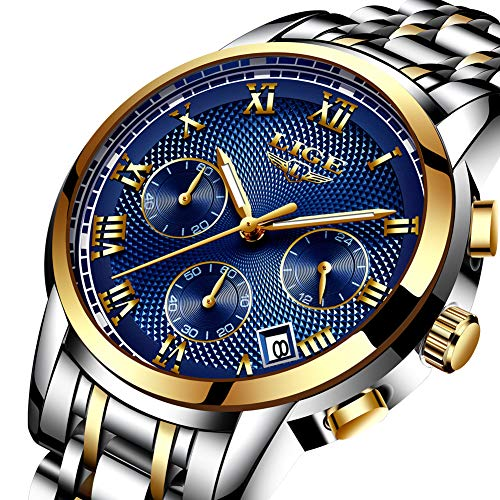 Watches,Mens-Watch Waterproof Stainless Steel Analog Quartz Watch Gents Fashion Business Chronograph Wrist Watch Blue Dial -