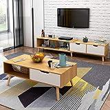 简约现代电视柜茶几组合北欧小户型地柜迷你家具伸缩电视机柜 (北欧枫木色(电视柜+茶几组合))