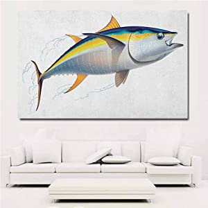 Fish Wall Mural Sticker Yellowfin Tuna Realistically Illustrated with Shadows and Water Details on Fins Artwork for Living Room Wall Decor Home Office 36x24