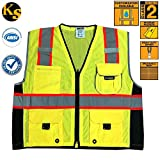 KwikSafety Class 2 Safety Vest High Visibility Executive Deluxe Safari Reflective Safety Vests Construction Reflective Multiple Pockets Meets ANSI/ISEA 107-2010 Class 2 Level2 Yellow Size Large/XL