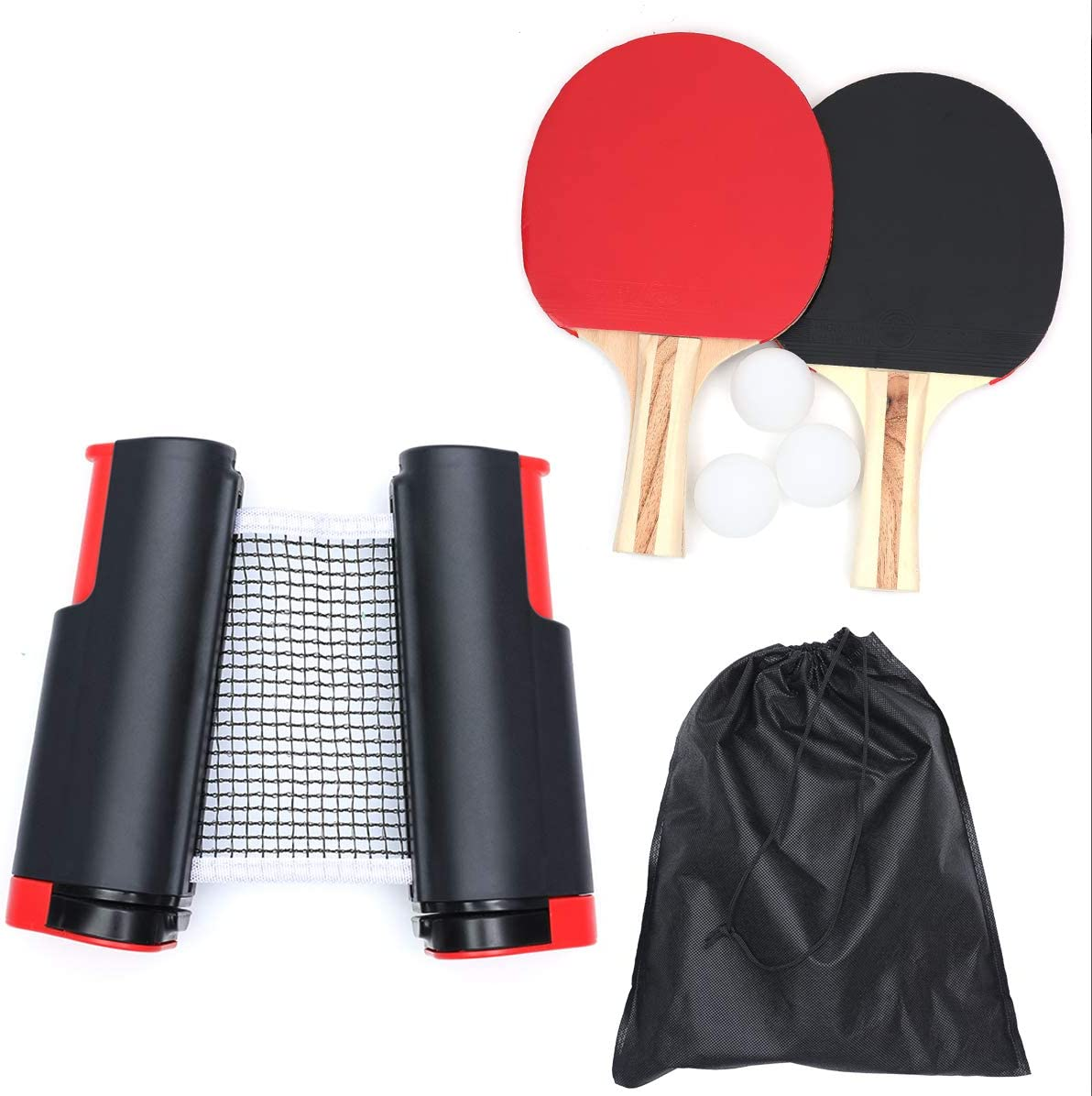 Set de Ping Pong - Juego de Red de Tenis de Mesa,Conjunto de Pingpong Set Portátil, 2 Raquetas de Tenis de Mesa, 3 Pelotas de Ping Pong, Bolsa de Almacenamiento Portátil, Retráctil Mesa Ping Pong