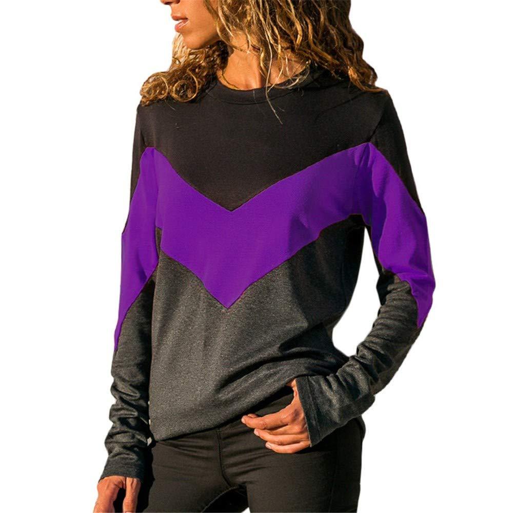 dbf95a566bc4 Youngii Chemisier Chic Femme Haut Femme Manche Longue Patchwork Bloc de  Couleur col Rond T-Shirt Printemps