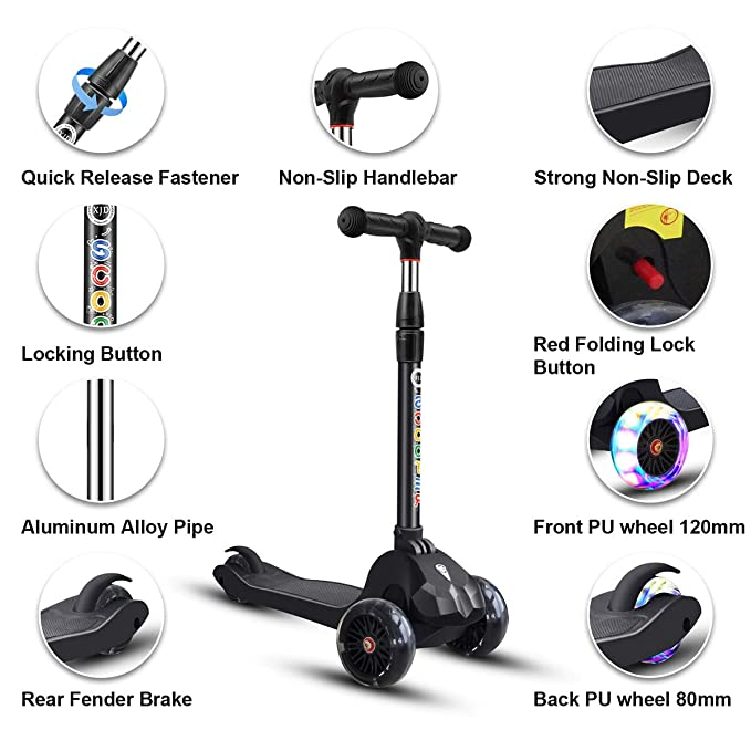 Amazon.com: Kick Scooter - Patinete para niños (3 ruedas ...