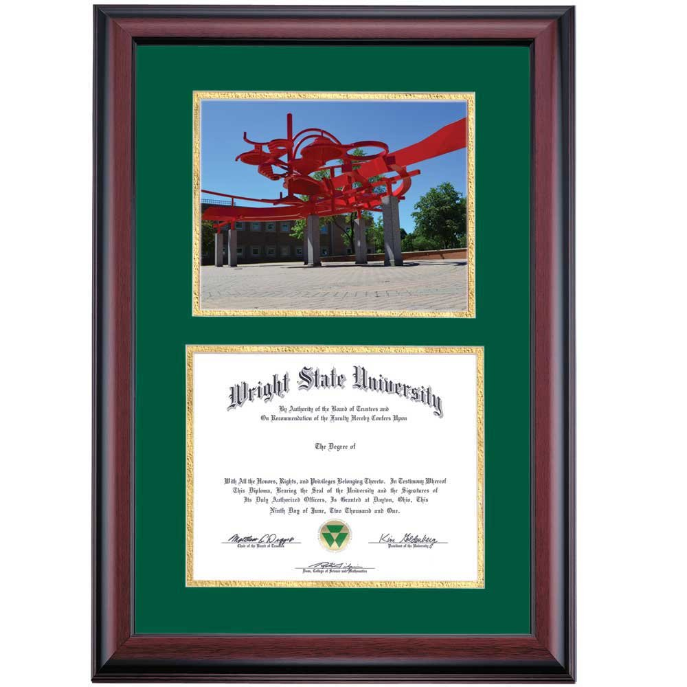Campus Linens Wright State Raiders Diploma Frame Green Gold Matting Photograph