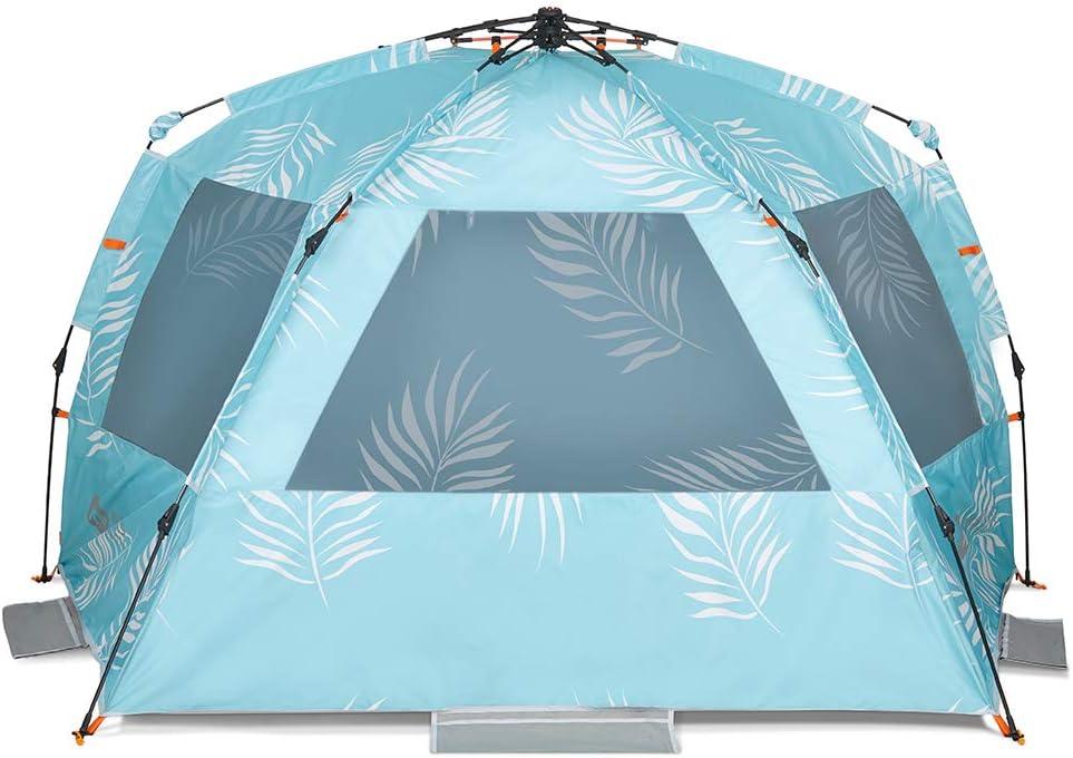 Easthills Outdoors Tente de plage pour 4 personnes Protection solaire UPF 50 avec porche zipp/ée