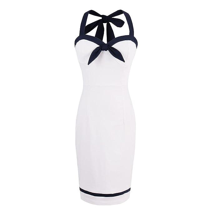 790e93cf Amazon.com: Women Summer White Halter Dress Cotton Knee-Length Bodycon  Solid Sheath Summer Dresses: Clothing