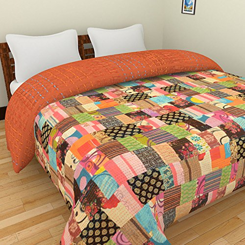 Rajasthali Indian Cotton Bedspread King Size Floral Print Ka