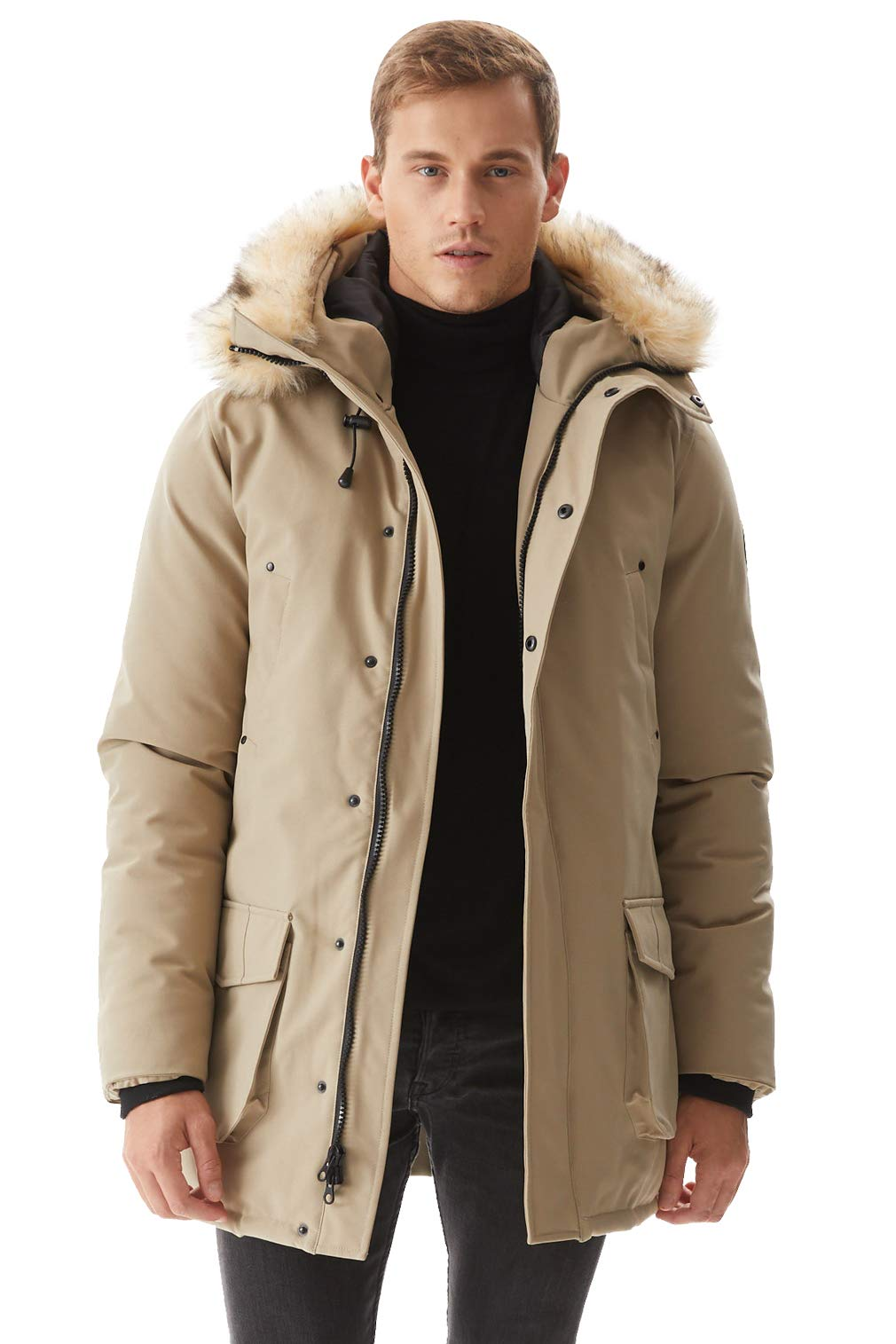 Molemsx Men Parka, Winter Jacket for Men, Men's Waterproof Heavyweight Warmest Parka Jacket with Trim Faux Fur Hood Mens Winter Arctic Coats Lined Padded Thicken Fashion Coat for Club Beige XXX-Large by Molemsx