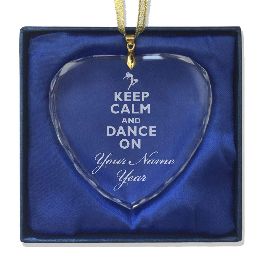 SkunkWerkz Christmas Ornament, Keep Calm Dance On, Personalized Engraving Included (Heart Shape)