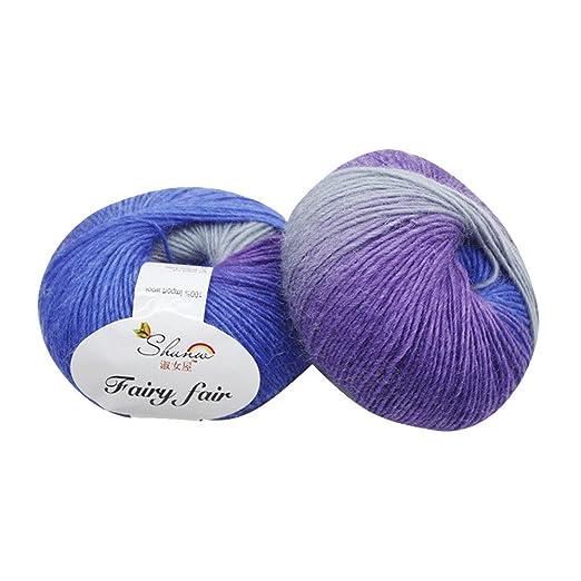 Hilo de lana para tejer a mano, 1.76 oz, mezcla de lana de ...