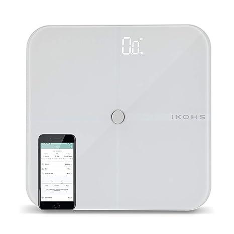 Ikohs Smart Wellness Báscula De Baño Con App Bluetooth Androidios 4 Sensores Display Led Diseño Ligero Y Plano Cristal Templado Adherencia