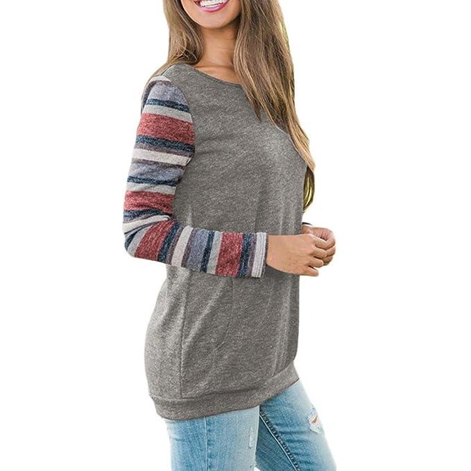 Koly Mujer Camisetas y tops Manga Larga Elegante Moda Rayas Round Collar Blusa T-shirt