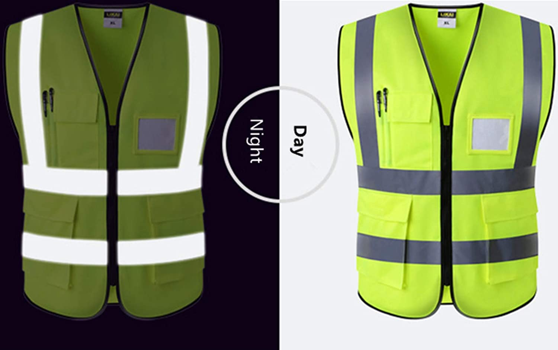 Verde Fluorescente FYstar Gilet Riflettente Alta visibilit/à Fluorescente Abbigliamento di Sicurezza per Esterni Gilet Gilet di Sicurezza Gilet ventilato