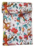 Bird Print Twin Size Kantha Quilt White, Kantha Blanket, Bed Cover, Twin Kantha bedspread, Bohemian Bedding Kantha Size 60 Inch x 90 Inch