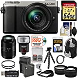 Panasonic Lumix DC-GX9 4K Wi-Fi Digital Camera & 12-60mm (Silver) + 45-200mm Lens + 64GB Card + Battery + Backpack + Tripod + Flash + Tele & Wide Lens Kit