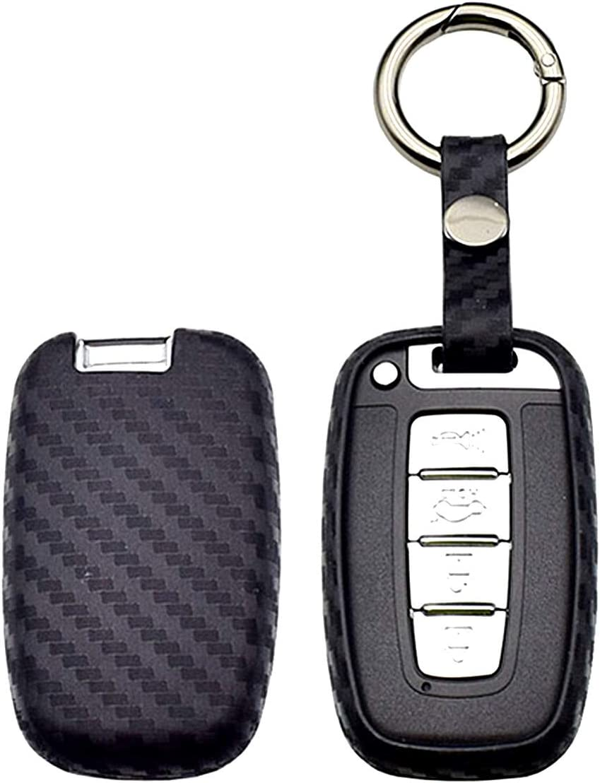 WFMJ Black Carbon Fiber Silicone 3 4 Buttons Remote Smart Key Chain Holder Cover Case for Hyundai Equus Genesis Coupe Sonata Veloster Elantra GT Tucson i40 ix35 i45 Avante