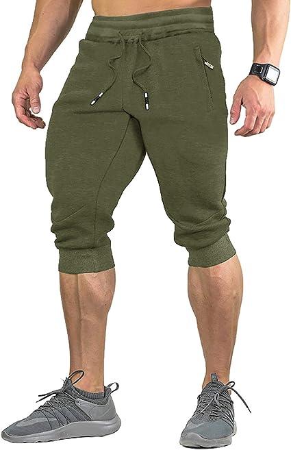 EKLENTSON Herren Capri Jogginghose Sporthose in 3 Taschen und Mehreren Farben Fitness Gym