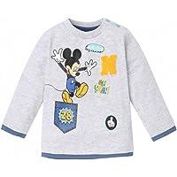 Camiseta de manga larga para bebé, diseño de Mickey, color gris y azul de 3 a 24 meses