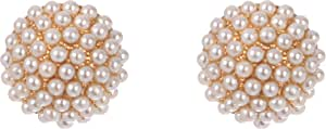 Crystal Asfour Stud Earrings For Women - Gold White