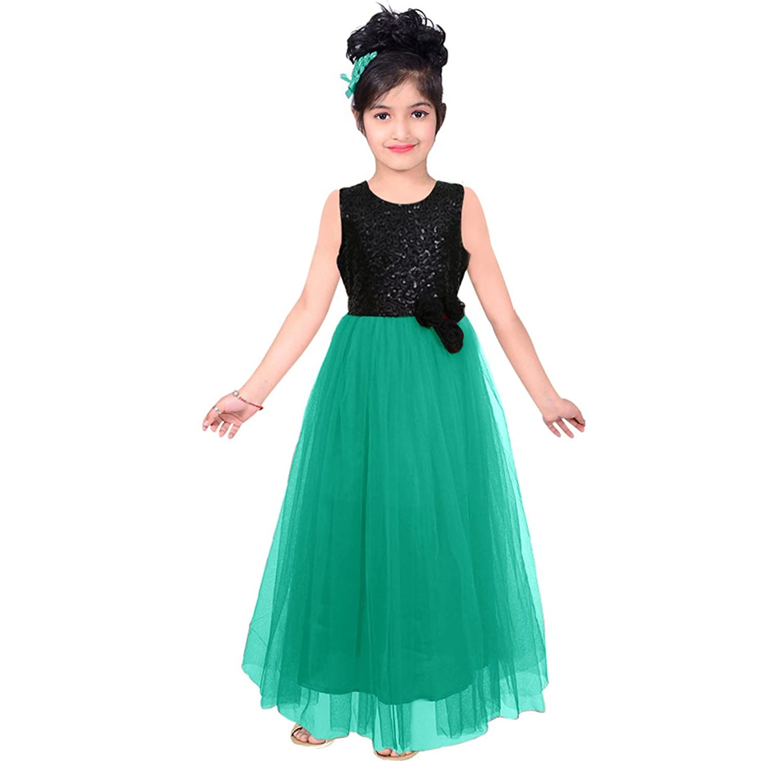 White Button Girl\'s Soft Net Sea Green Sequance Embroidery 2 Flared ...