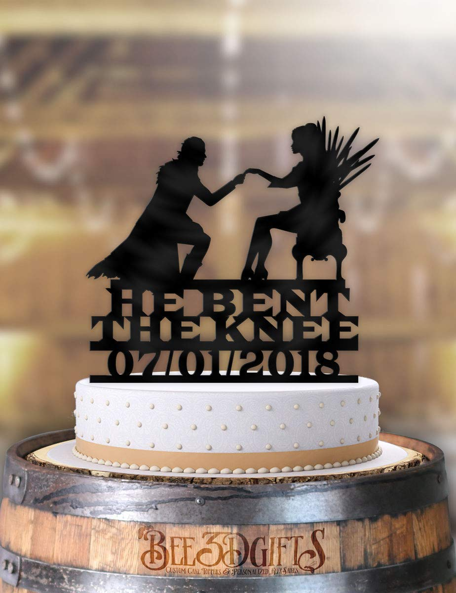 """Link and Zelda with Initials and Date Personalized Wedding Cake Topper 6/"""" W"""
