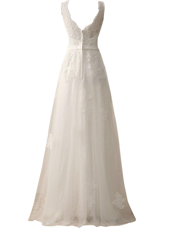 JAEDEN Damen A Linie Hochzeitskleid Lang Tüll Brautkleid mit ...