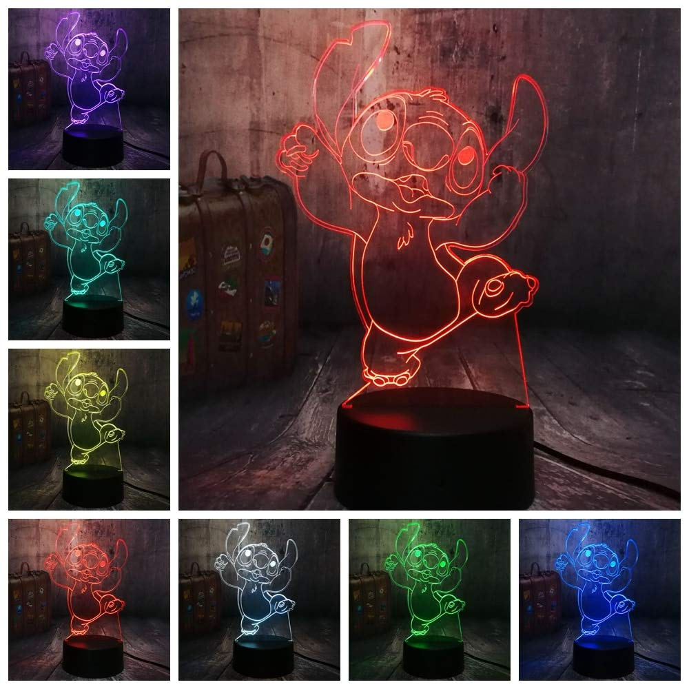 Z Lamp Neue 4 Design Cute Stitch Alien Dog Cartoon 3d Led Lacht 7 Color Baby Sleep Desk Lamp Home Decor Holiday Kid Christmas Gift Touch One 7 Color Tanzende Stitch
