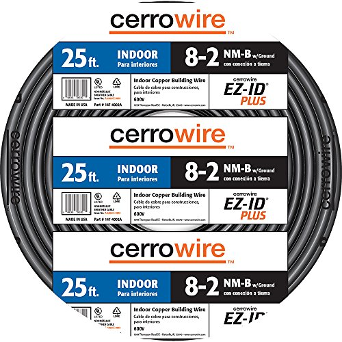Cerrowire 147-4002A 25-Feet 8/2 NM-B Stranded with Ground Wire, Black ()