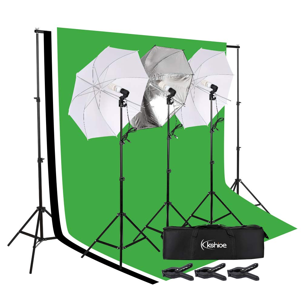 Kshioe Lighting Kit 6.6ft x 9.8ft Background Support System and Umbrellas Continuous Lighting Kit for Photo Studio Product, Portrait and Video Shoot Photography by Kshioe