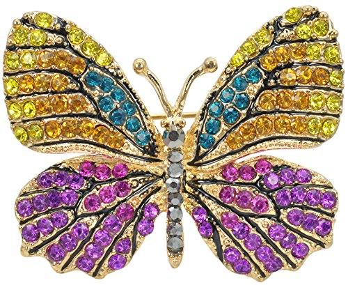 Gyn&Joy Empress Monarch Multi-color Crystal Rhinestone Winged Butterfly Pin Brooch Butterfly Ruby Brooch