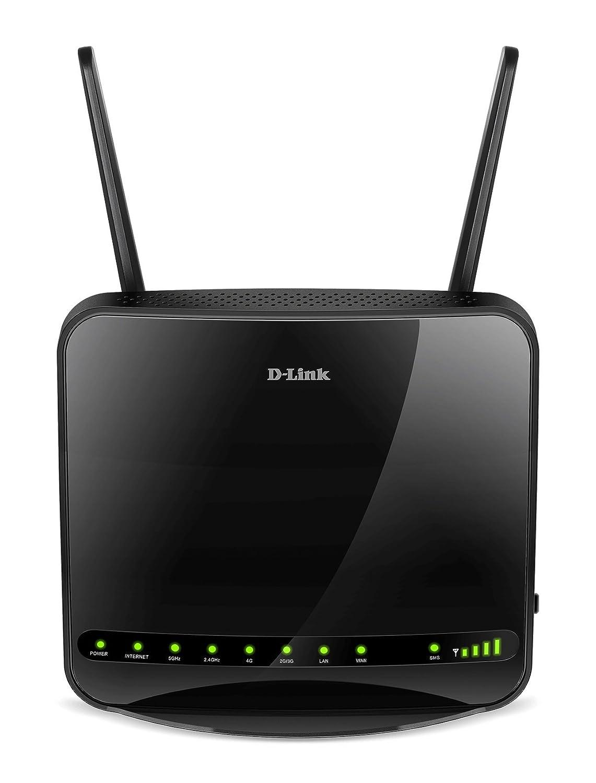 D-Link DWR-953 - Router WiFi AC1200 (4G/LTE libre, 3G, 1200 Mbps, WPS, 4 puertos Gigabit 10/100/1000 Mbps, 1 puerto de Internet WAN Gigabit, ranura para SIM de datos, WPA2, antenas extraí bles), negro antenas extraíbles) D-Link Systems Inc.