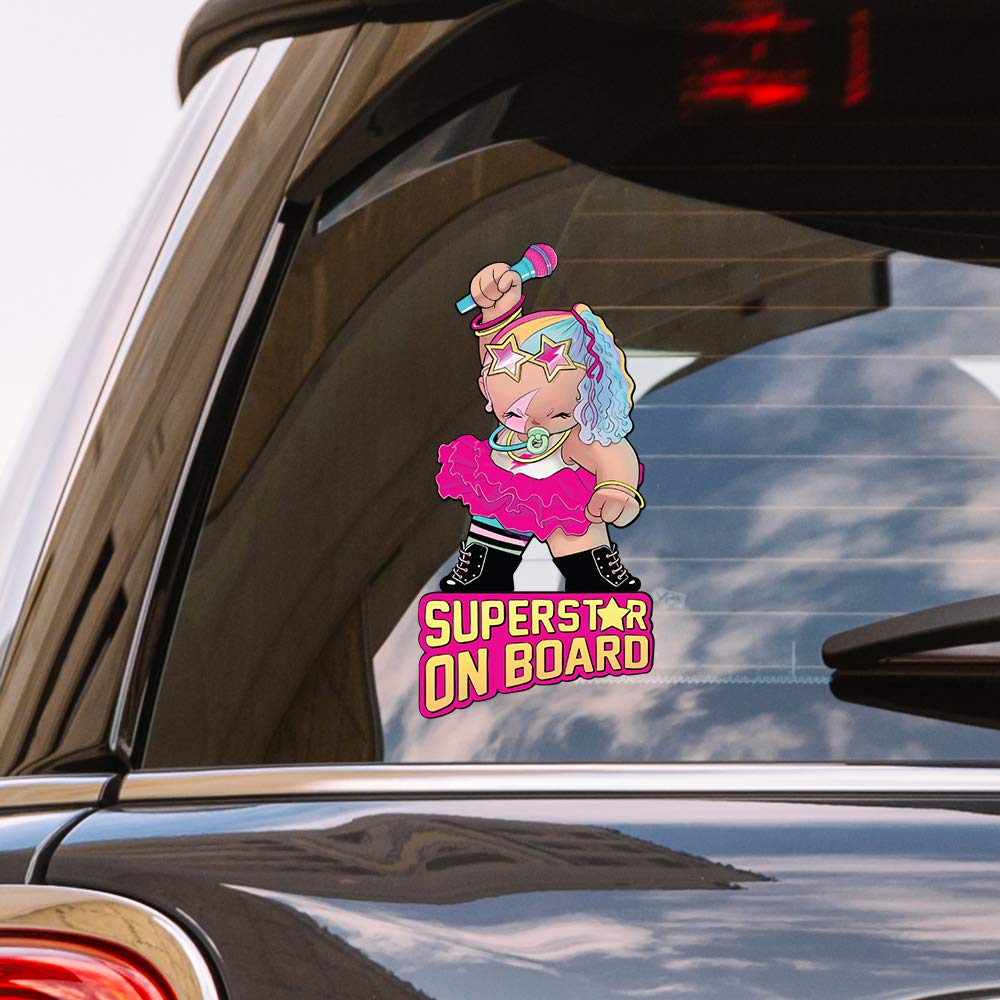 Olivers Labels Superstar Girl on Board Baby Vinyl Window Car Decal Sticker