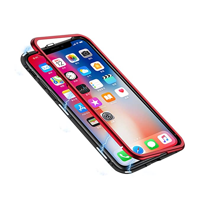 21f2795c22 iPhone X Case, HONTECH Ultra Slim Magnetic Adsorption Aluminum Alloy Tempered  Glass with Built-