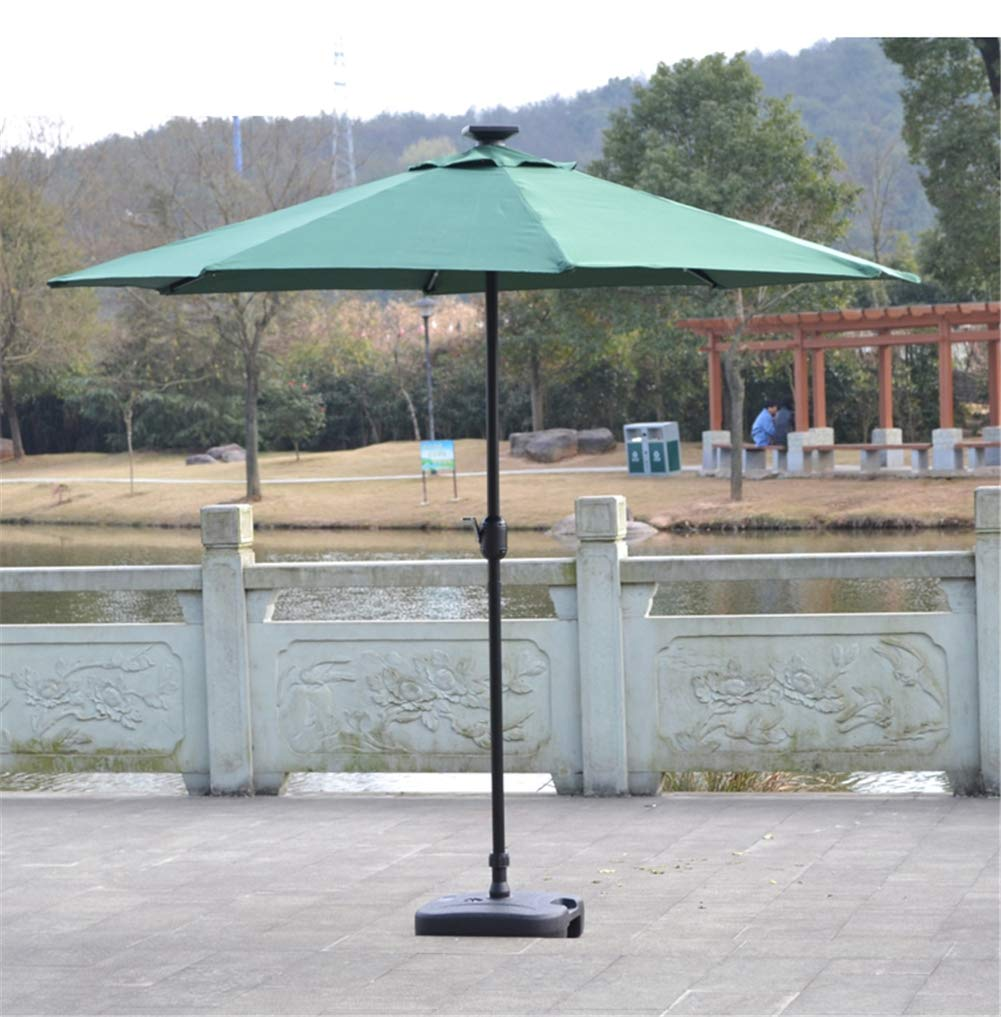 MAMASAM Outdoor Patio Umbrella with Led Lights and Solar Panels Weatherproof 2.7 M,Green
