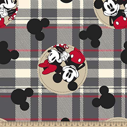 - Disney 67821-A62331 Mickey and Minnie Badges Fleece Fabric, Multi